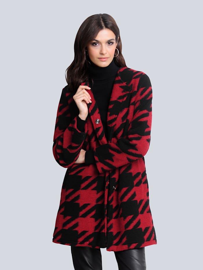 Alba Moda Jas met de look van gekookte wol, Rood/Zwart
