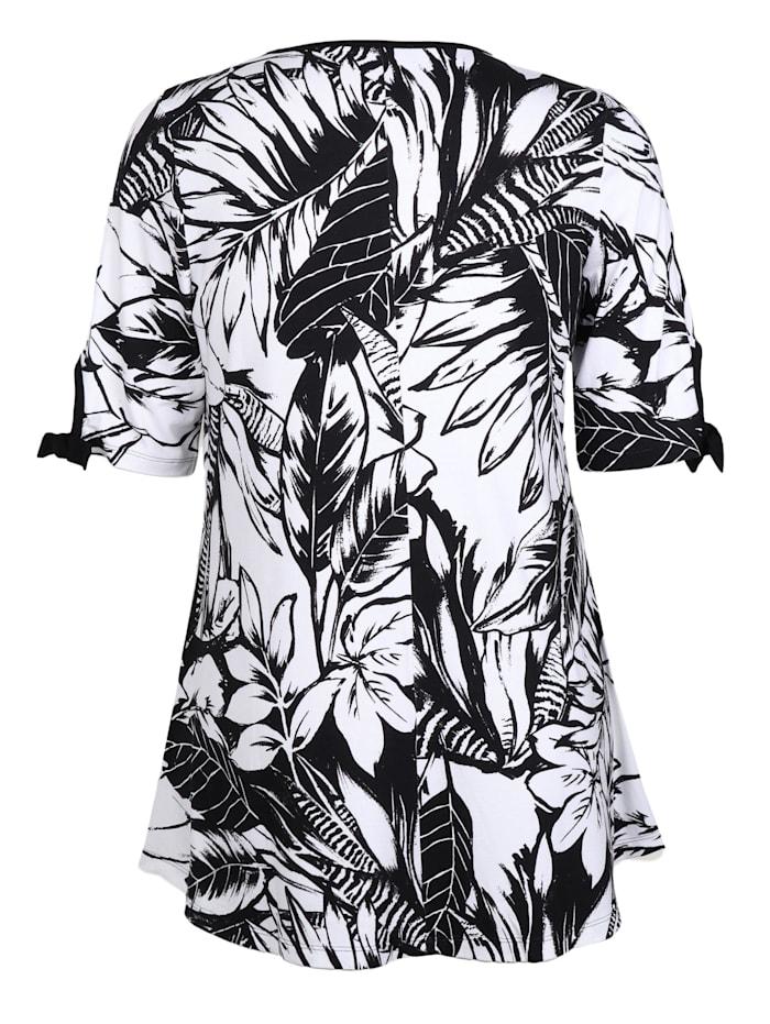 Longshirt mit Blätterprint Bänder