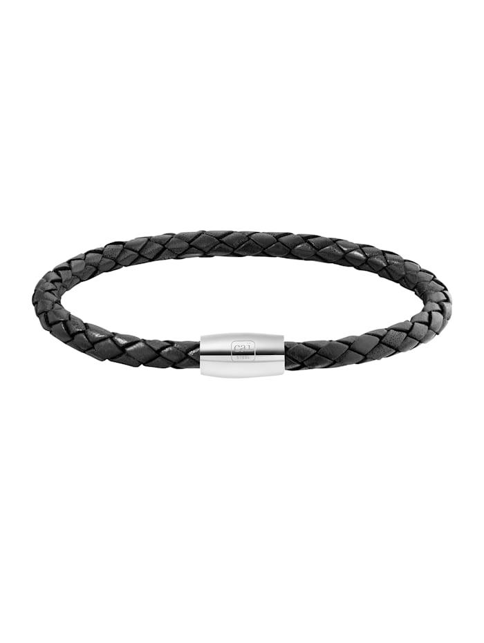 CAI Armband Edelstahl ohne Stein 23cm Glänzend, schwarz