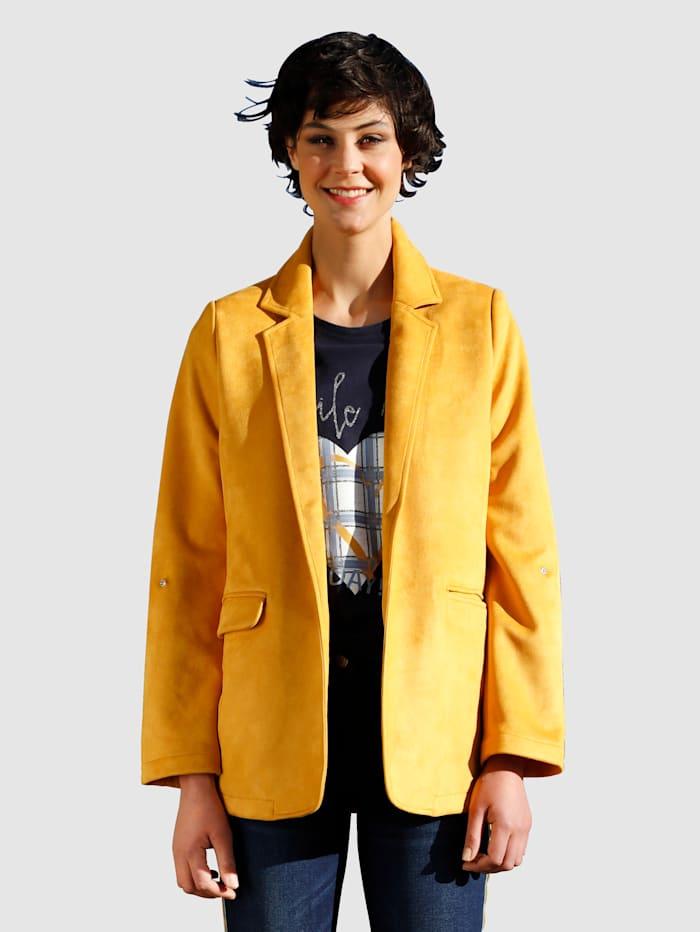 Dress In Blazer in offener Form, Gelb