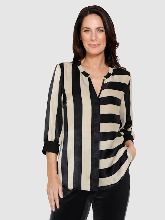 MONA Bluse mit Streifen-Muster, Schwarz/Beige