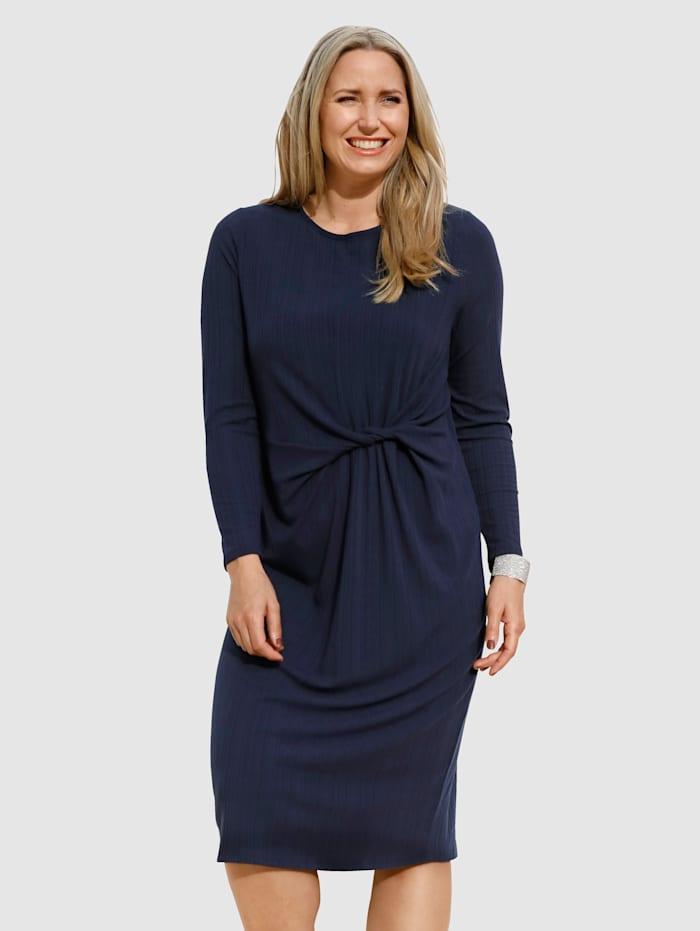 MIAMODA Jerseykleid mit Knotendetail in der Taille, Marineblau