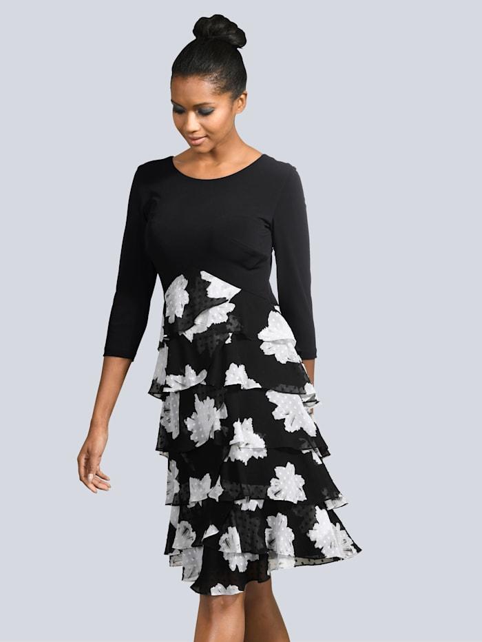 Alba Moda Kleid mit Volants, Schwarz