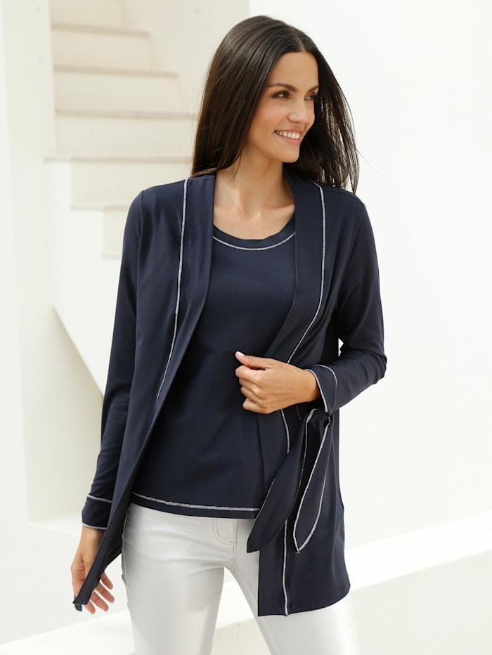 AMY VERMONT Shirtjacke und Shirt mit silberfarbene Details, Marineblau
