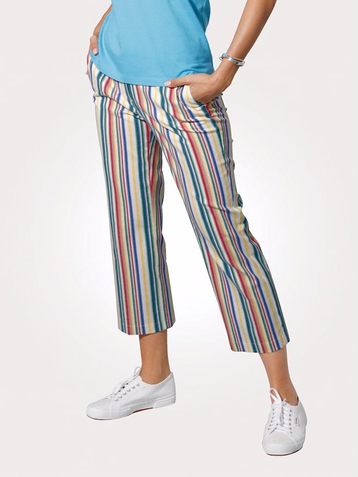 MONA Pantalon 7/8 à rayures tissées, Blanc/Bleu/Vert/Rouge