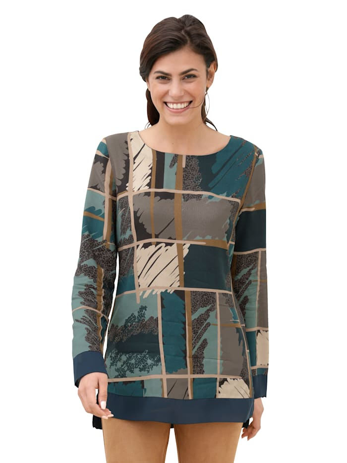 AMY VERMONT Blouse met grafisch patroon, Turquoise