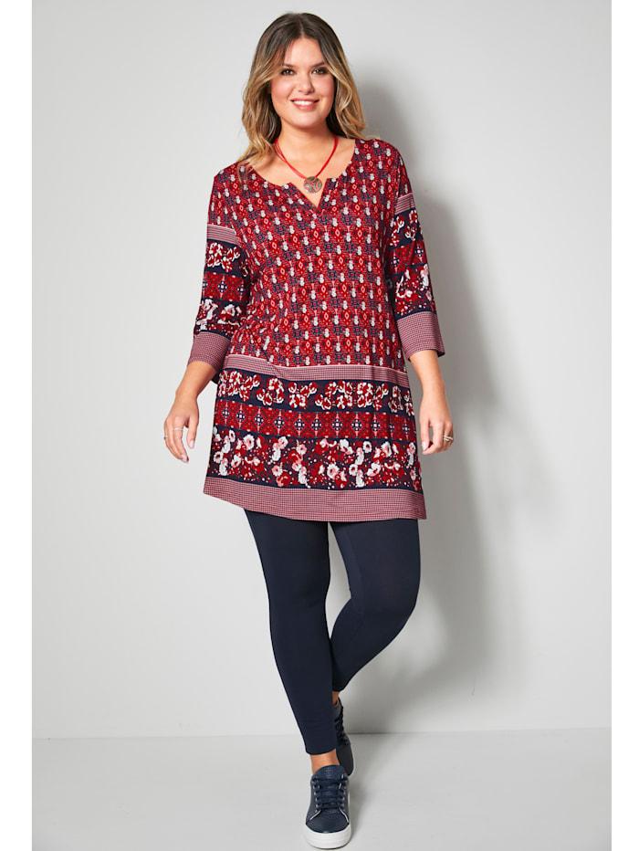 Tunika-Shirt mit Bordüren-Druckmuster an Ärmeln und Saum