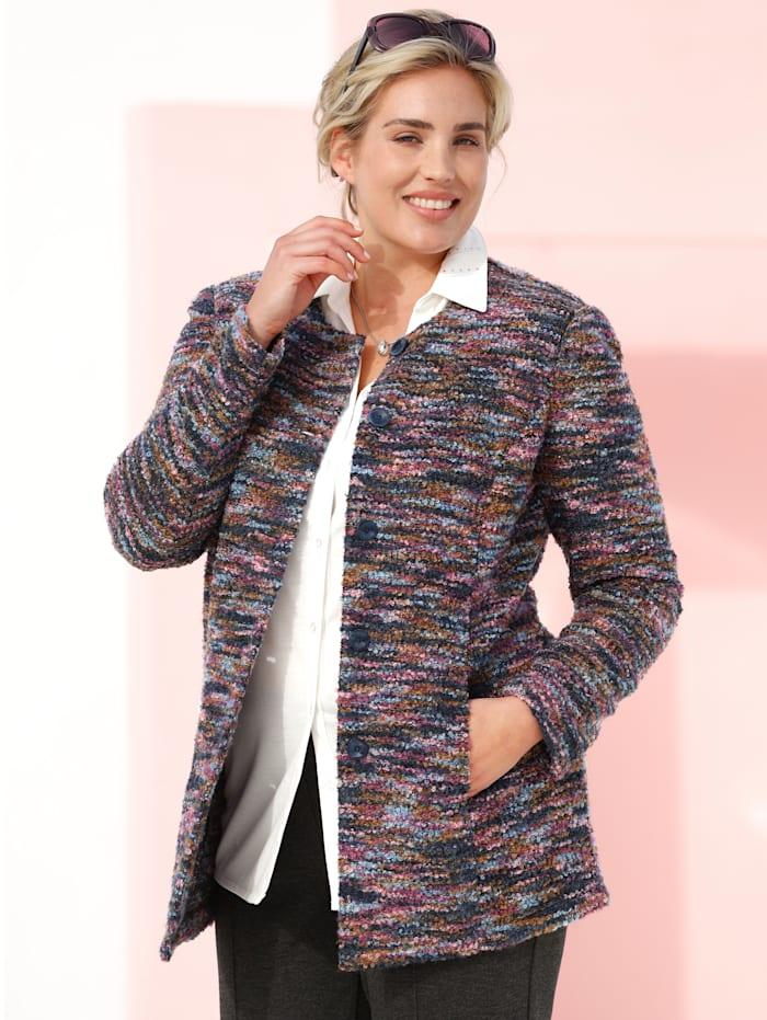 m. collection Bouclé blazer in een mooie kleurenmix, Marine/Oudroze