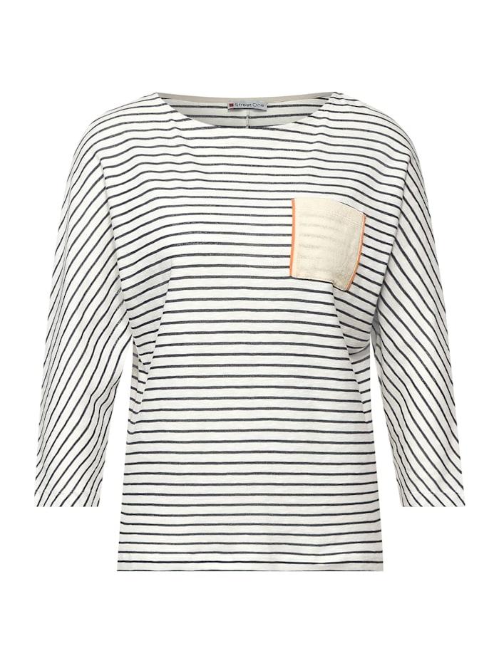 Street One Oversize Shirt mit Streifen, off white