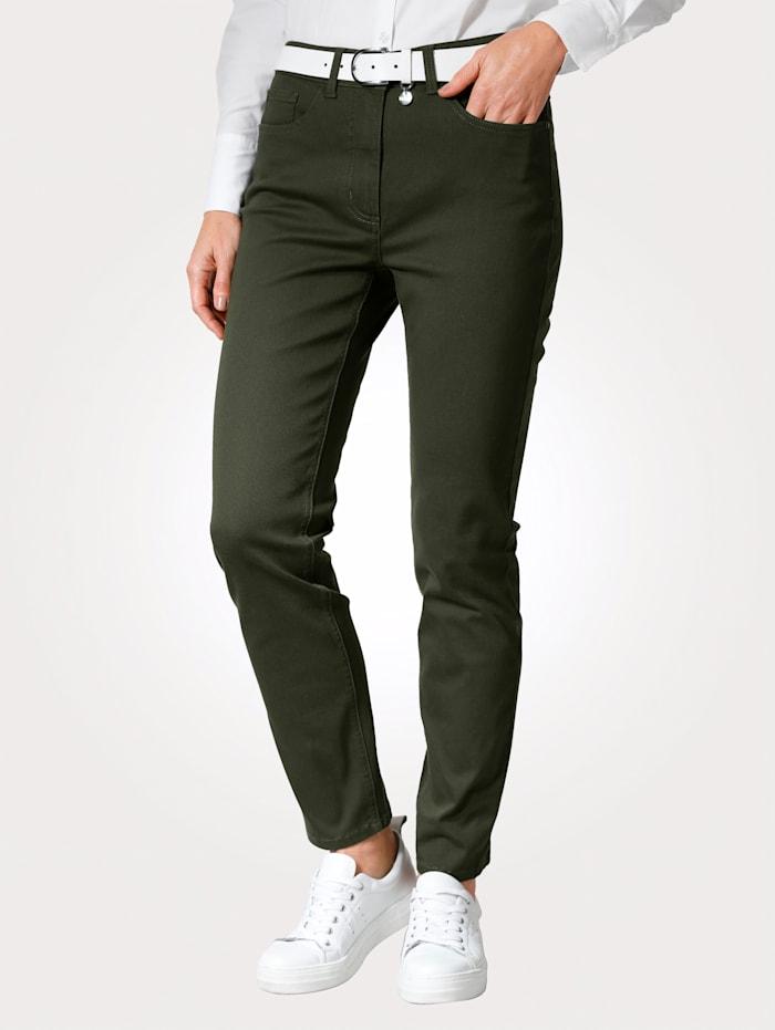 MONA Pantalon avec ceinture partiellement extensible en grandes tailles, Olive