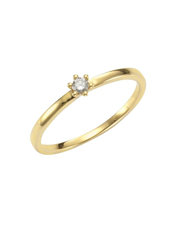 Orolino Ring 750/- Gold Brillant weiß Brillant Glänzend 0,07ct. 750/- Gold, gelb