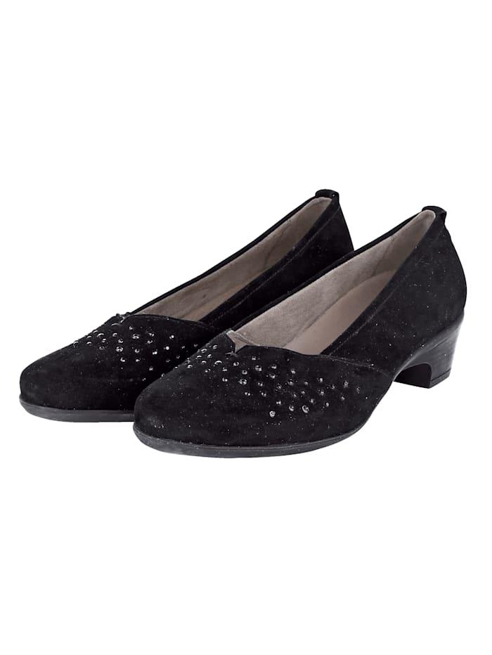 Naturläufer Court shoes with subtle rhinestones, Black