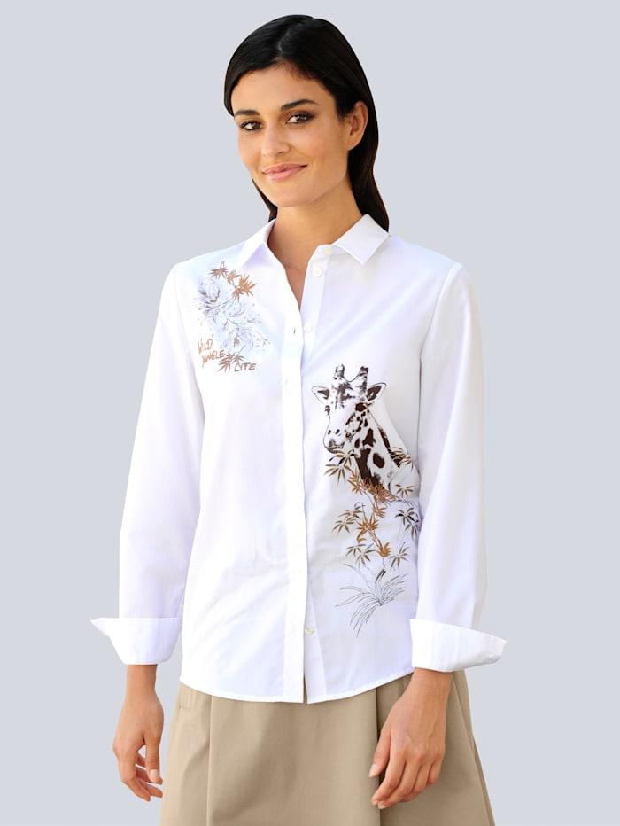 Alba Moda Hemdbluse mit Motivprint und Stickerei, Weiß/Beige