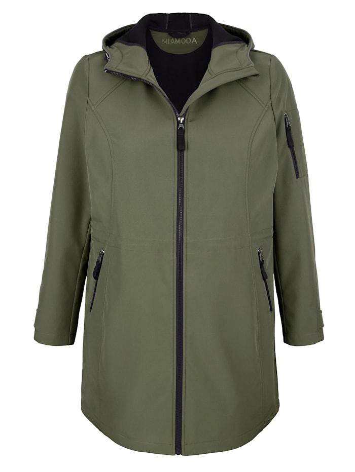 MIAMODA Softshell bunda s praktickou kapucňou, Khaki/Čierna