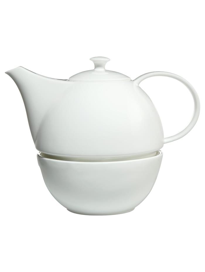 Kaiser Porzellan Teekanne mit Stövchen weiß