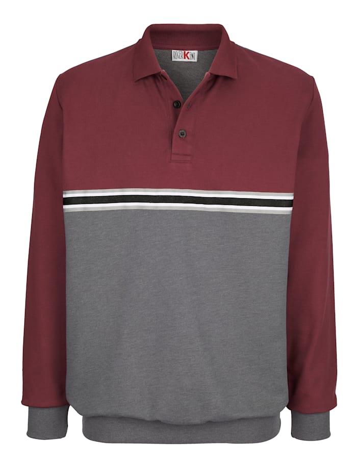 Roger Kent Sweatshirt med krage och knappar, Bordeaux/Antracitgrå