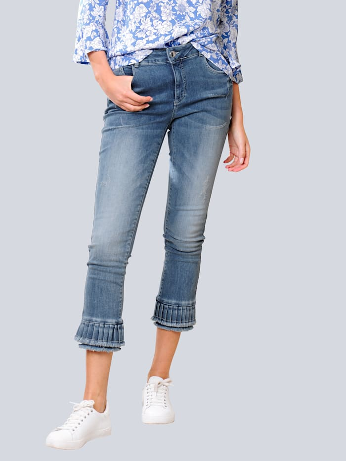 Alba Moda Jeans mit modischem Volant am Saum, Blau