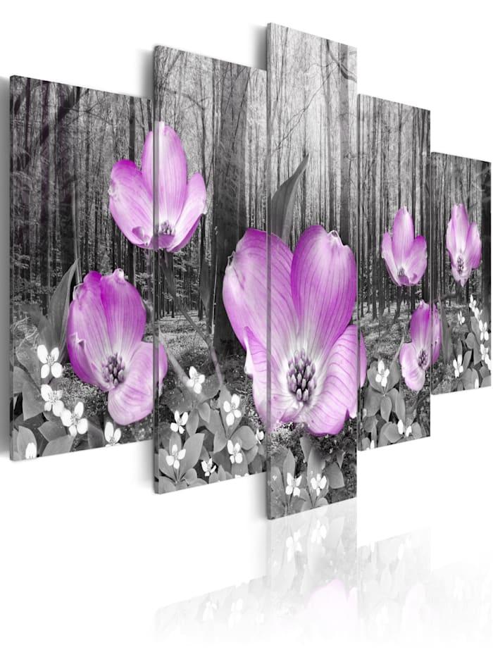 artgeist Wandbild Flora des Waldes, schwarz-weiß,Violett
