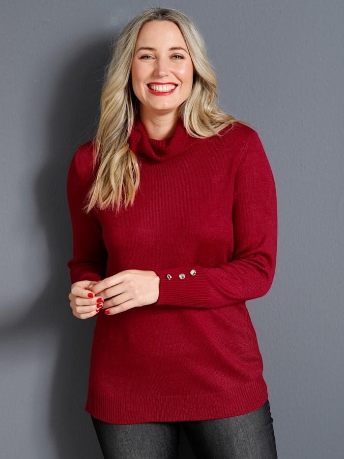 MIAMODA Pullover mit halsfernem Rollkragen, Rot