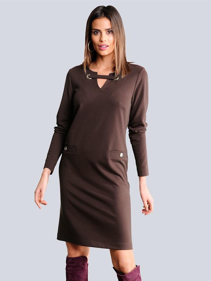 Alba Moda Jerseykleid mit effektvoller metallischer Ösenverarbeitung, Beere
