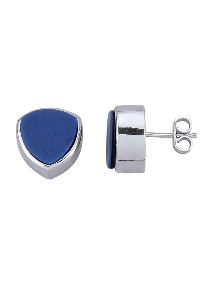 Diemer Farbstein Ohrringe in Silber 925, Blau