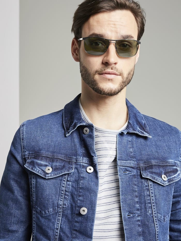 Tom Tailor Verspiegelte Piloten Sonnenbrille mit Federscharnier, black frosted