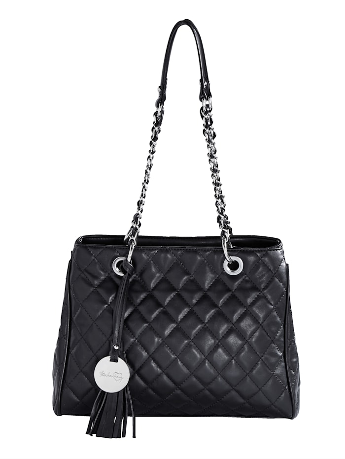 Taschenherz Handbag in a quilted pattern, Black