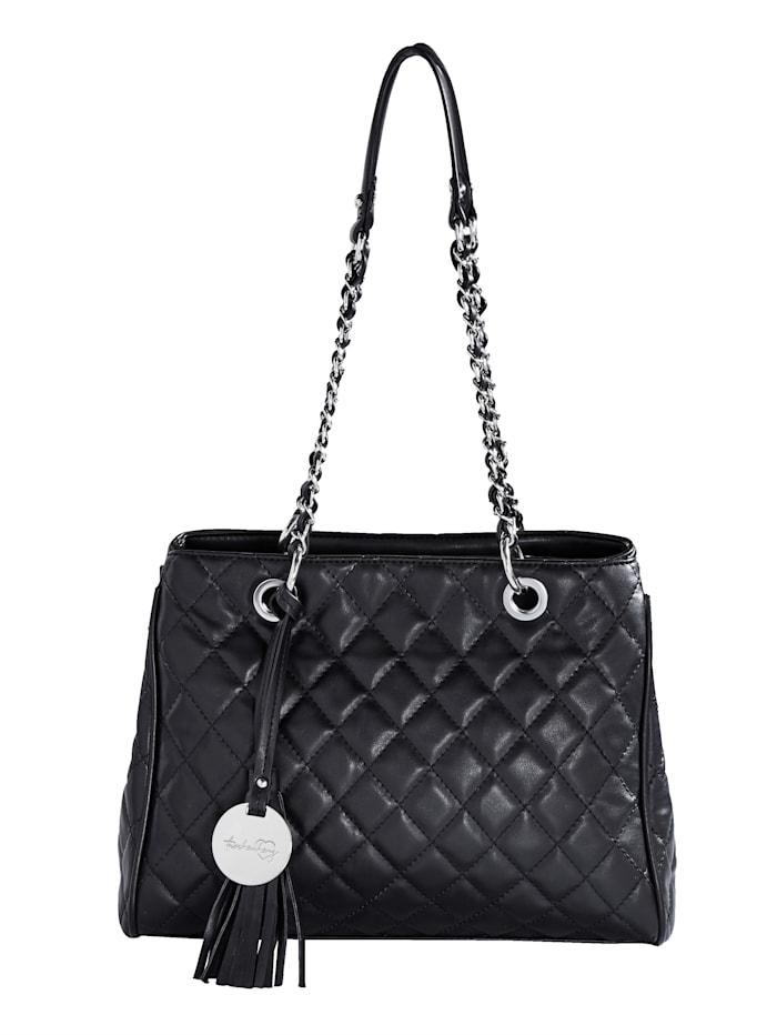 Taschenherz Shopper mit Steppung, schwarz