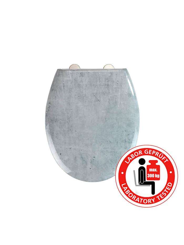 Wenko Premium WC-Sitz Concrete, aus antibakteriellem Duroplast, mit Absenkautomatik, Mehrfarbig, Befestigung: Silber matt