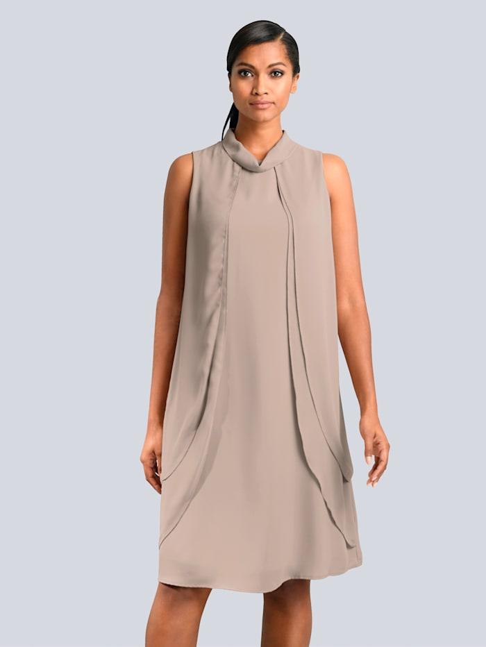 Alba Moda Kleid in fliessenden Chiffonlagen, Taupe