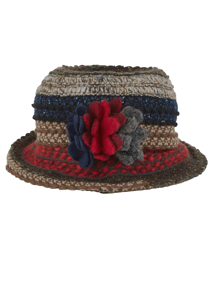 MONA Wool hat with felt floral detail, Brown/Red/Blue