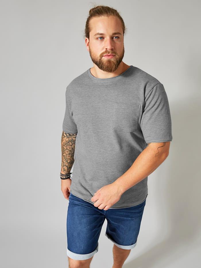 Men Plus Kurzarmsweatshirt, Grau