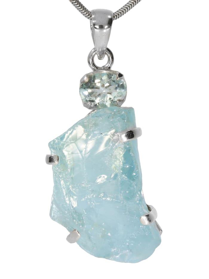 1001 Diamonds Damen Schmuck Edelstein Aquamarin Anhänger 925 Silber Blaugrüntöne, Blaugrüntöne