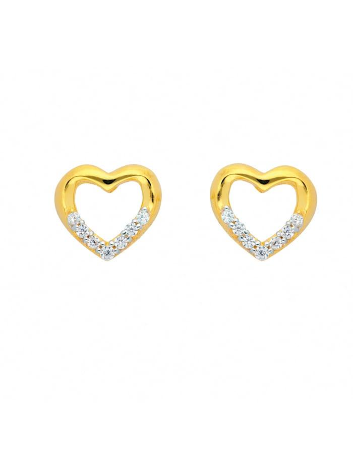 1001 Diamonds Damen Goldschmuck 585 Gold Ohrringe / Ohrstecker Herz mit Zirkonia, gold