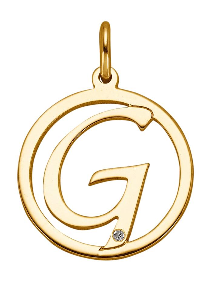 Pendentif lettre avec diamant, Coloris or jaune
