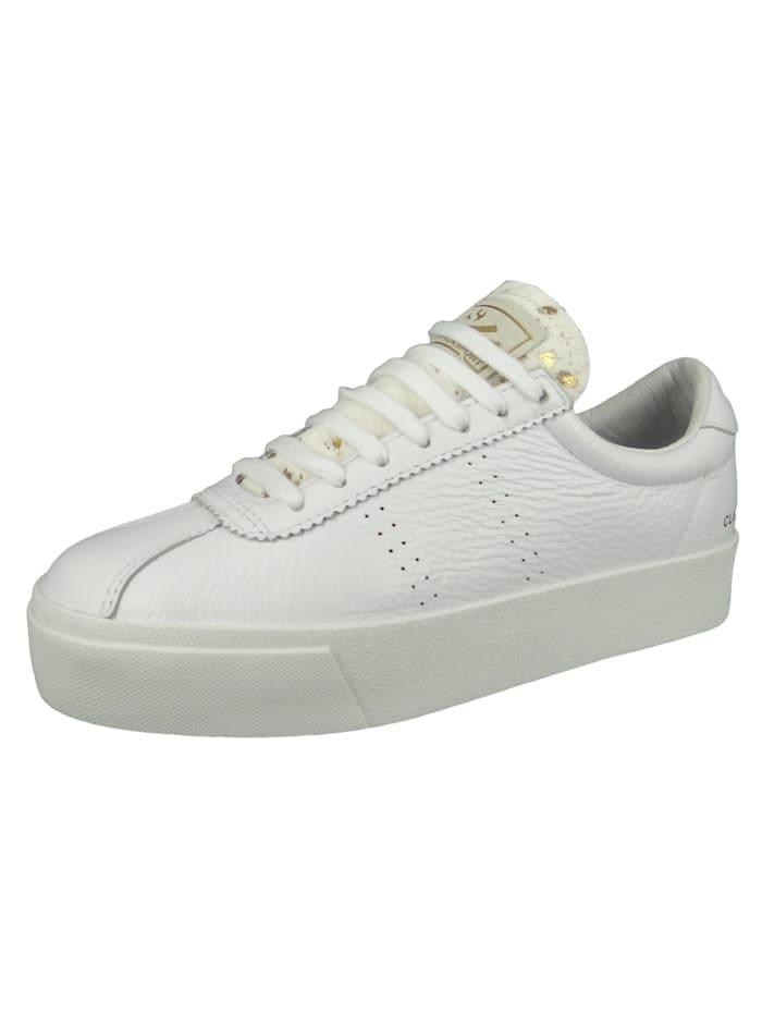 Superga Damenschuhe-Sneaker S111WPW 2854 Club 3 Comflea Ponyhairw Leder weiß 901 White Gold, 901 White Gold