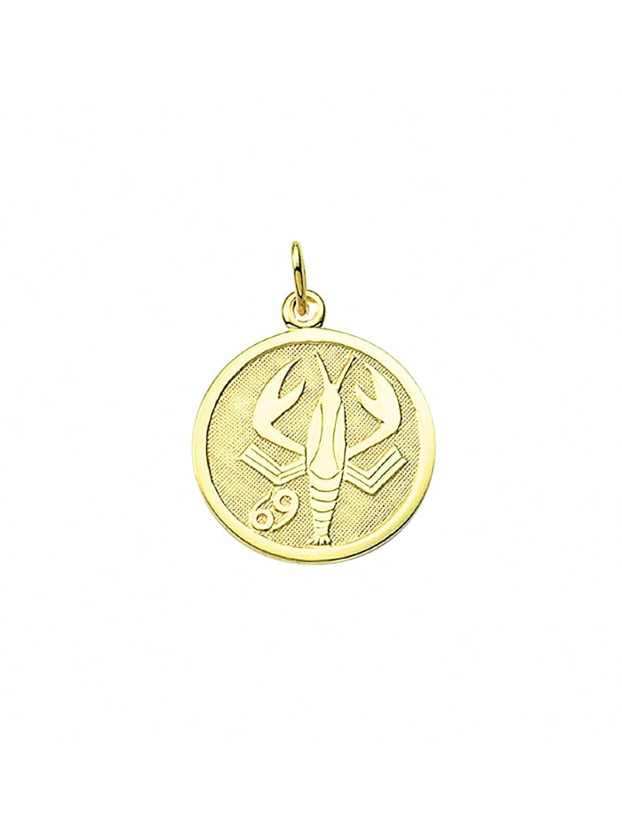 1001 Diamonds Damen & Herren Goldschmuck 333 Gold Sternzeichen Anhänger Krebs Ø 16 mm, gold