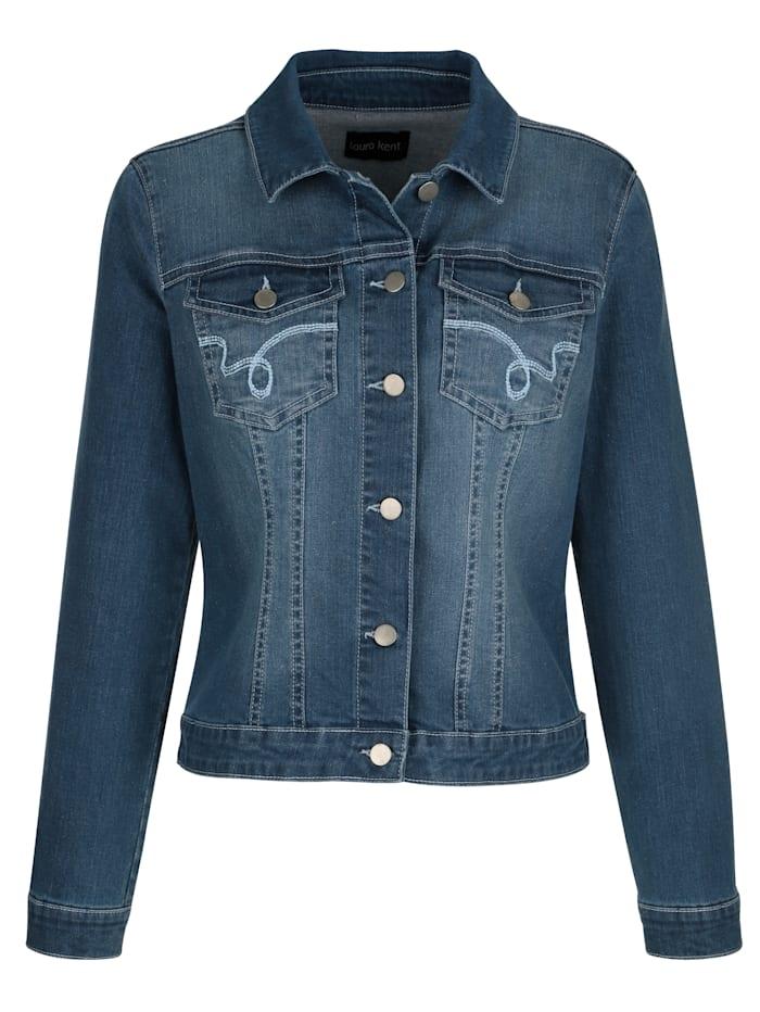 Veste en jean à coutures contrastées