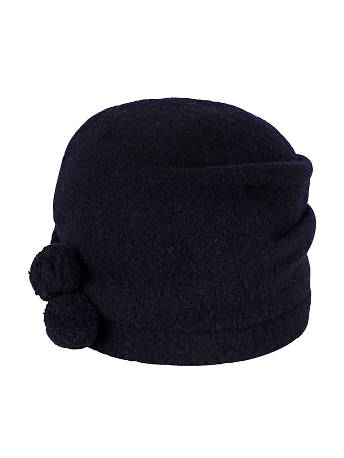 Seeberger Milled wool hat with decorative pom-poms, Navy