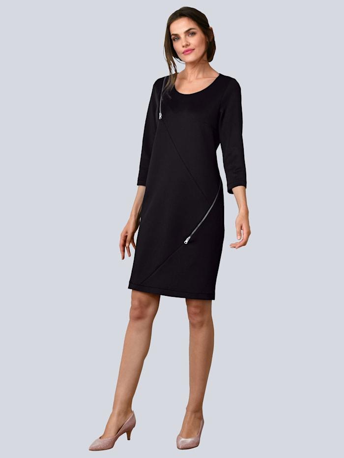 Alba Moda Kleid mit dekorativen Zippern, Schwarz