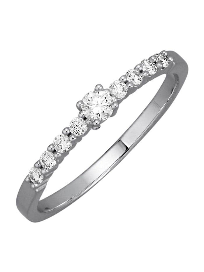 Diemer Diamant Damenring mit lupenreinen Brillanten, Weißgoldfarben