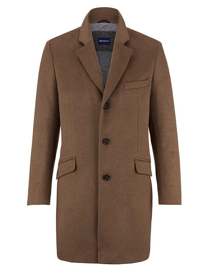 Babista Premium Vlnený kabát s kašmírom, Hnedá
