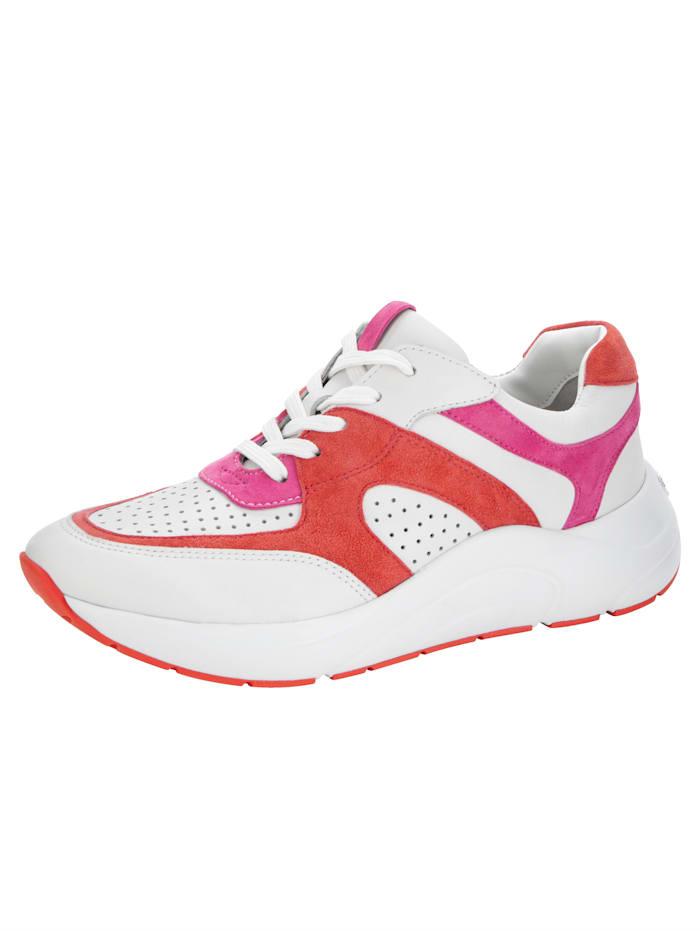 Caprice Sneaker mit OnAir-Lederfußbett, Weiß/Koralle/Pink