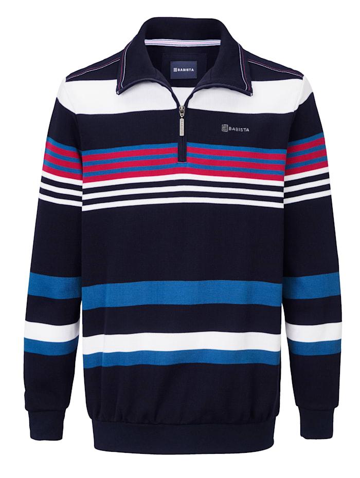 BABISTA Sweat-shirt à motif rayé tissé-teint, Marine/Blanc