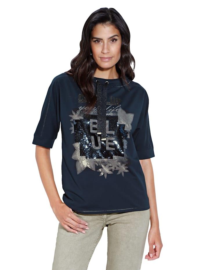 Betty Barclay Sweatshirt mit Pailletten im Vorderteil, Marineblau