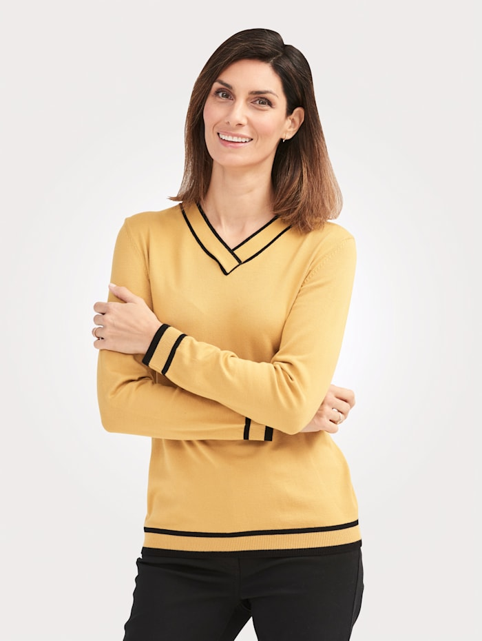 MONA Pullover mit kontrastreichem Single-Knit, Gelb/Schwarz