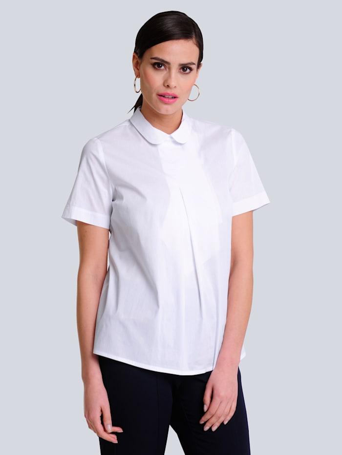 Alba Moda Bluse mit kleinem Bubikragen, Weiß