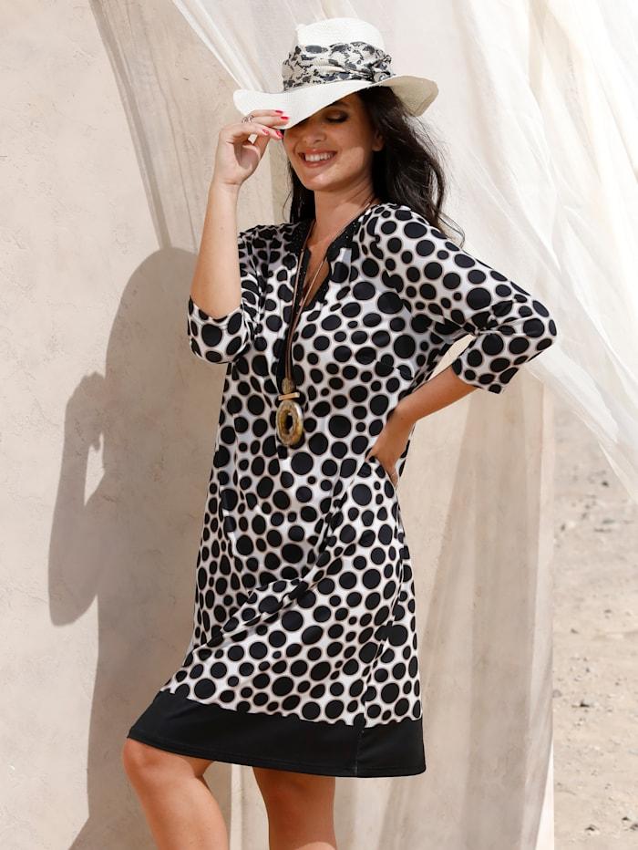 MIAMODA Kleid mit funkelnden Dekosteinen entlang des Ausschnitts, Beige/Schwarz/Off-white