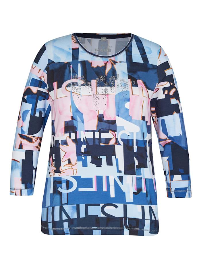 Rabe Shirt mit abstraktem Allover-Muster und Lettering, EISBLAU