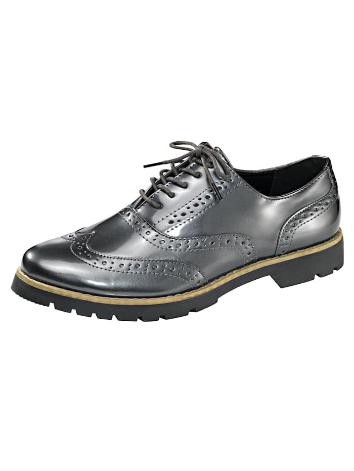 Fitters Footwear Schnürschuh mit dekorativer Lyralochung, Anthrazit